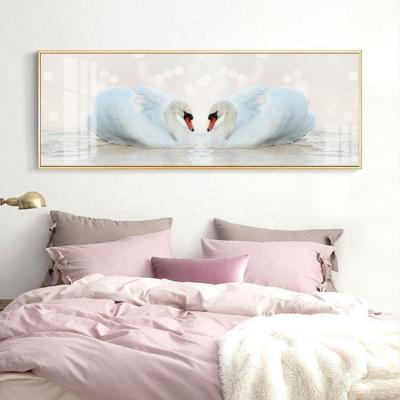 """Картина панорамная над кроватью """"Белые лебеди"""""""