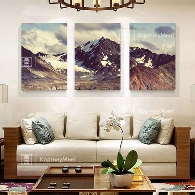 """Модульная картина  из трех частей над диваном """"Горы"""""""