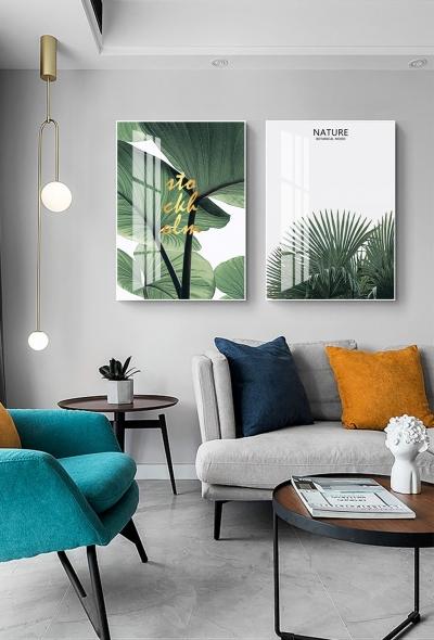 """Картина из двух частей над диваном """"Пальмовый лист"""""""