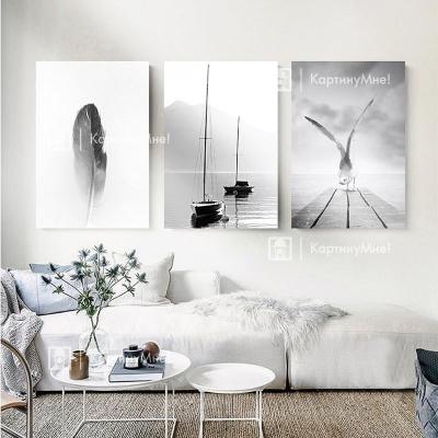 """Картина интерьерная черно белая из трех модулей """"Морские мотивы"""""""