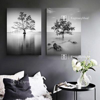 """Картина модульная черно белая """"Одинокое дерево"""""""