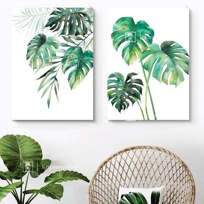 """Картина из двух частей в европейском стиле """"Тропическая ветвь"""""""
