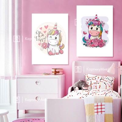 """Картина розовая для детской """"Веселые пони"""""""