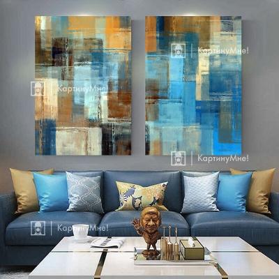 "Картина абстрактная над диваном ""Цветные краски"""
