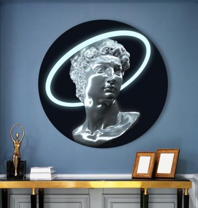Картина на круглом холсте Неоновый ренессанс