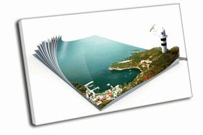 Картина 3d рисунок маяк в книге