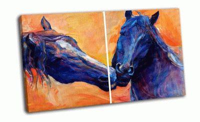 Картина абстракт красивых синих лошадей