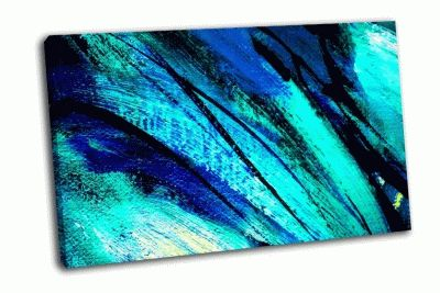 Картина абстрактная синяя живопись