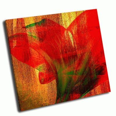 Картина абстрактный красный цветок