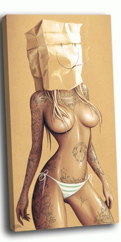 Картина арт-девушка курящий смайлик