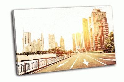 Картина авеню в современном городе