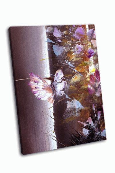 Картина бабочки-цветы в сиреневом