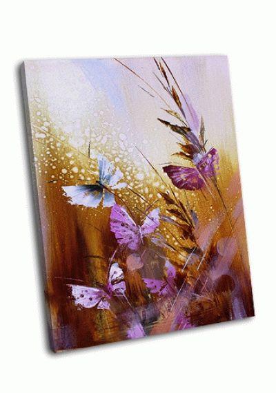 Картина бабочки-цветы в золотом
