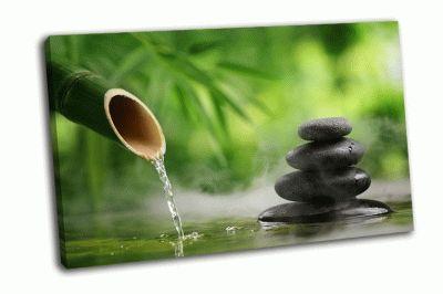 Картина бамбуковый фонтан с камушками
