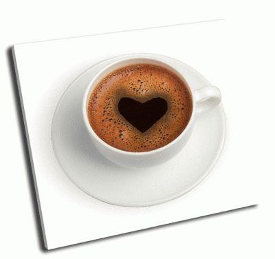 Картина белая чашка кофе с сердцем