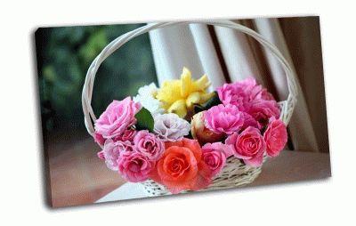 Картина белая корзинка с цветами