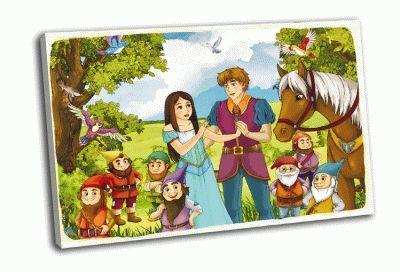 Картина белоснежка, принц и семь гномов
