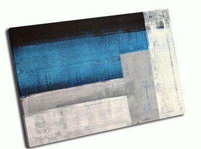 Картина бирюзовый и серый абстракт