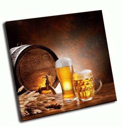 Картина бочка и кружка пива