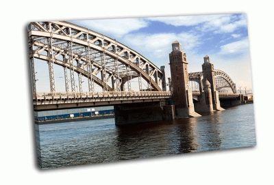 Картина большеохтинский мост день