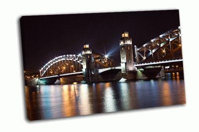 Картина большеохтинский ночной мост