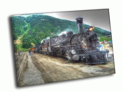Картина большой старый паровоз
