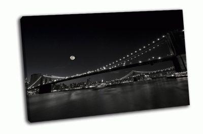 Картина бруклинский и манхэттенский мост в нью-йорке