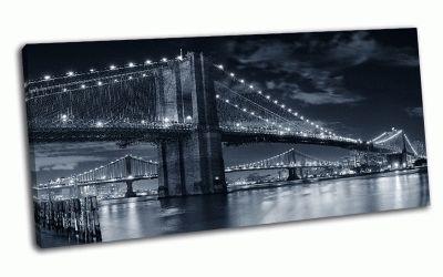 Картина бруклинский мост через ист-ривер ночью