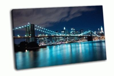 Картина бруклинский мост и манхэттен ночью