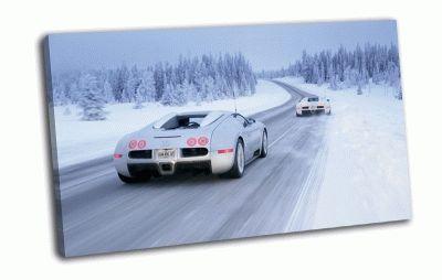 Картина bugatti  veyron на снежной дороге
