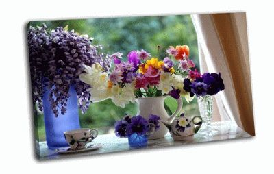 Картина букет на окне
