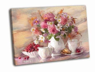 Картина букет осенних цветов в вазе