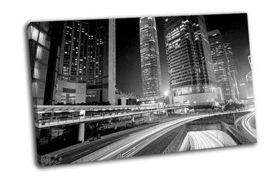Картина центр города в гонконге в черно-белом