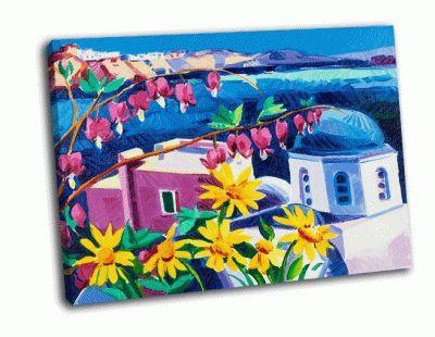 Картина церковь и белые домики поселка ия