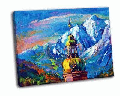 Картина церкви перед горным пейзажем