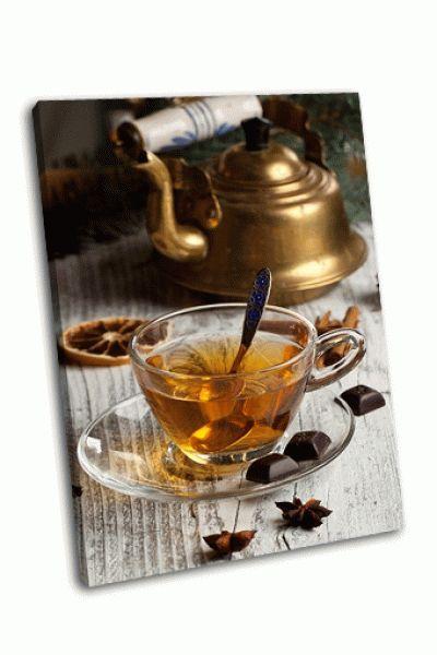 Картина чай и старый винтжный чайник