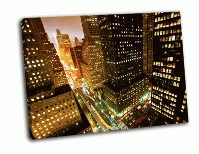 Картина час пик на 42-ой улице в нью-йорке