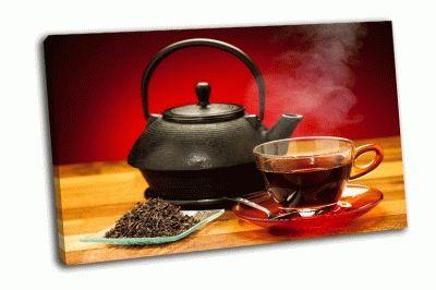 Картина чашка черного чая с чайником