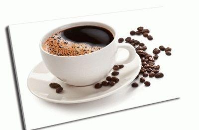 Картина чашка кофе и зерна