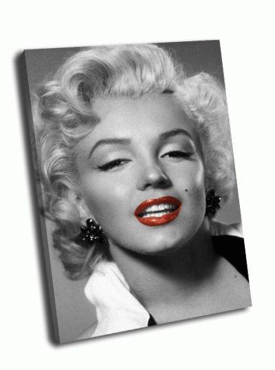 Картина черно-белое фото монро с красной помадой