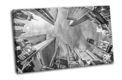 Картина черно-белые небоскребы на таймс-сквер