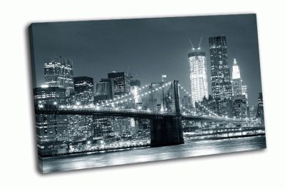 Картина черно-белый бруклинский мост