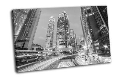 Картина черно-белый город гонконг