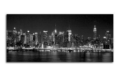 Картина черно-белый нью-йорк ночью