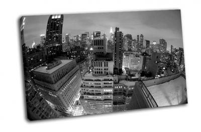 Картина черно-белый-ню нью-йорк, ночь