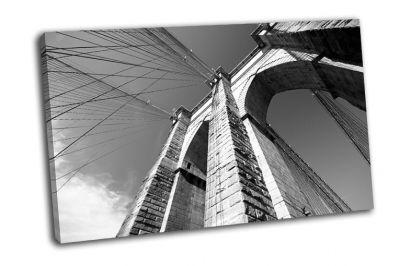 Картина черно-белый вид  бруклинского моста