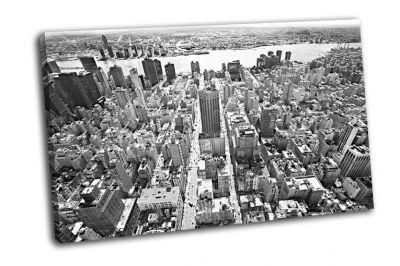Картина черно-белый вид на манхэттен