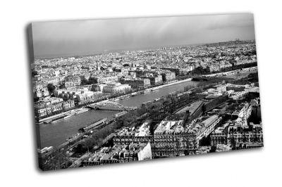 Картина черно-белый вид на париж