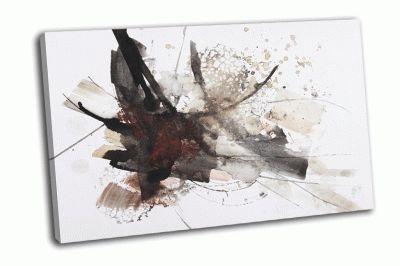 Картина черно-красные абстрактные кисти