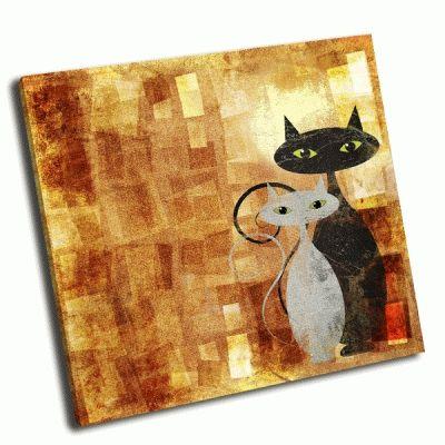 Картина черый и белый кот